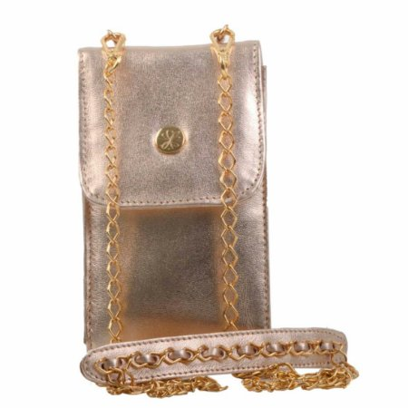 Bolsa AANIS Porta Celular com Alça Dourada + Alça Couro