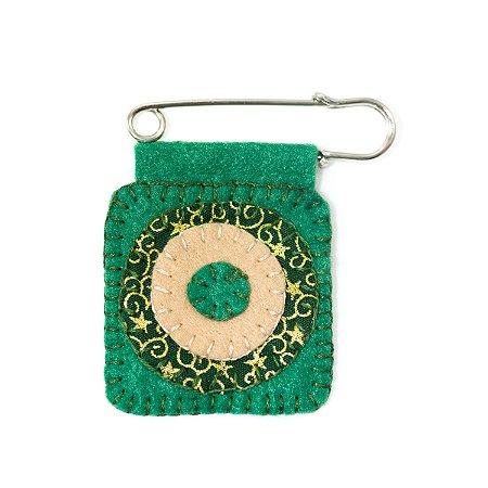 Berloque Feltro Mandala Verde Estrela