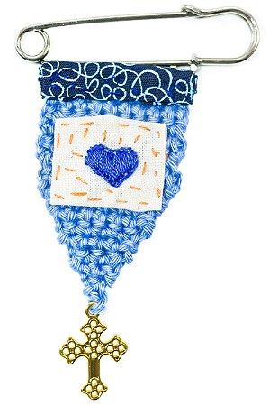 Berloque Crochê Azul e Bordado Coração Azul Pequeno