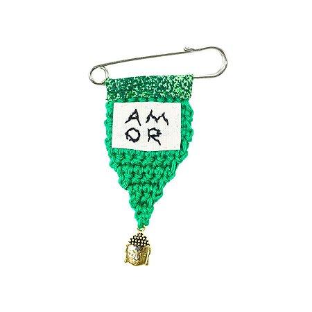 Berloque Crochê Verde e Bordado Amor Pequeno
