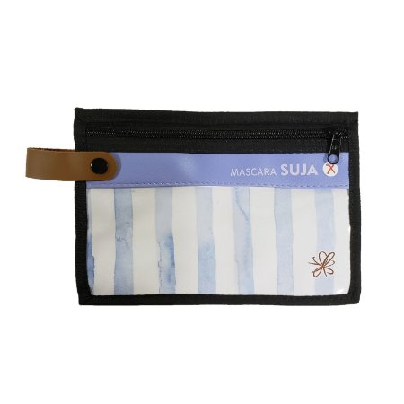 Porta Máscaras Dupla Face Azul Aquarela