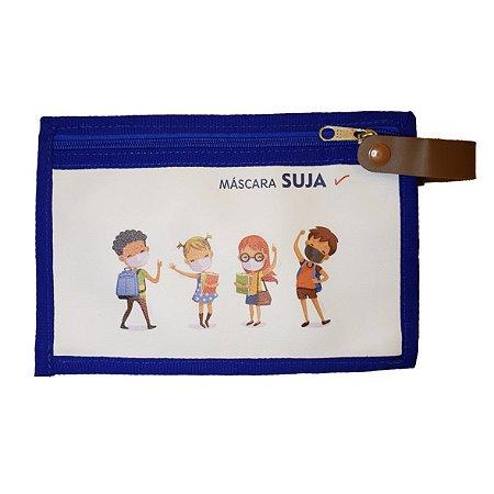 Porta Máscaras Dupla Face Kids Azul