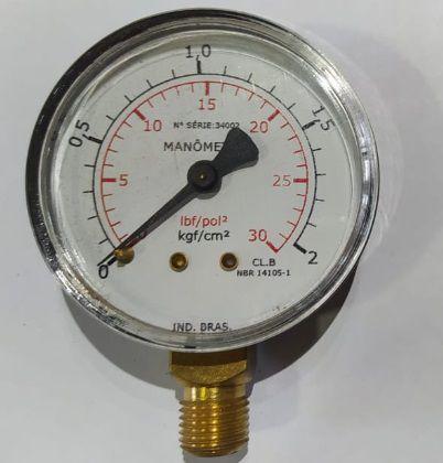 Manômetro Reto Cx Aço carbono 2.1/2 0-2 x 30