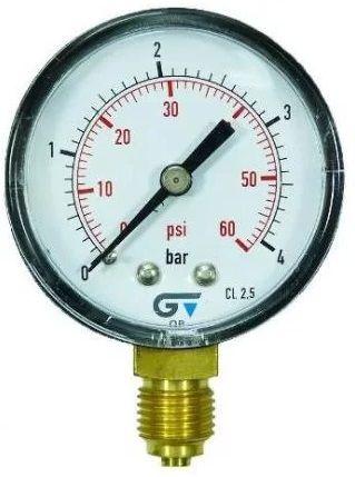 Manômetro Reto Cx Aço carbono 2.1/2 Escala 0-4 kgf/cm2
