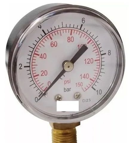 Manômetro Reto Cx Aço carbono 2.1/2 Escala 0-10 x 150 lbs