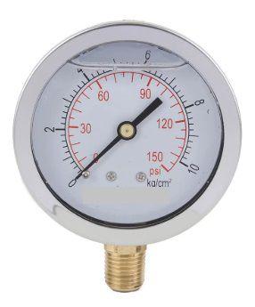 Manômetro Reto Cx inox 2.1/2 escala 0-10 X 150 C/glicerina
