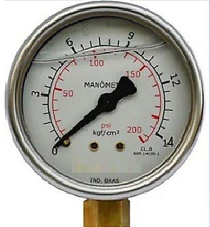 Manômetro Reto Cx inox 2.1/2 Escala 0-14 x 200