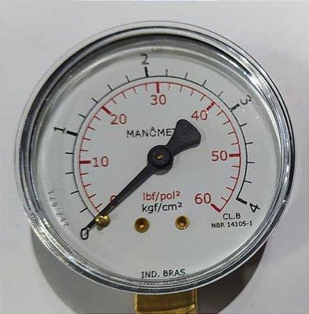 Manômetro Reto Cx Aço carbono, internos latão 4'' Escala 0-4 x 60 lbs