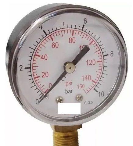 Manômetro Reto Cx Aço carbono, internos latão 4'' Escala 0-10 x 150 lbs