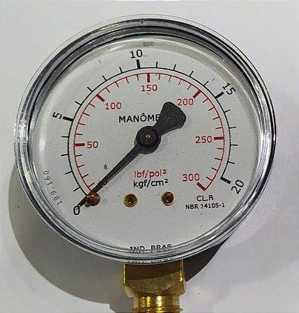 Manômetro Reto Cx Aço carbono, internos latão 4'' Escala 0-20 x 300 lbs