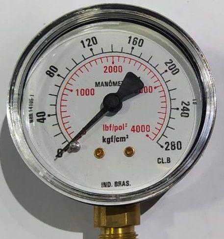 Manômetro Reto Cx Aço carbono, internos latão 4'' Escala 0-280 x 4000