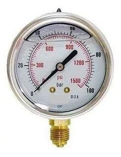 Manômetro Reto Cx Aço carbono, internos latão 4'' Escala 0-100 x 1500 c/glicerina