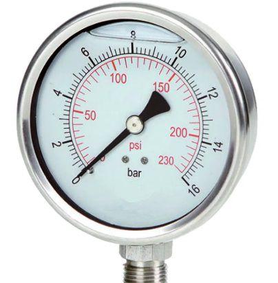 Manômetro Reto Cx Aço carbono, internos latão 6'' Escala 0-2 x 30 lbs