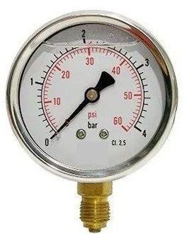 Manômetro Reto Cx Aço carbono, internos latão 6'' Escala 0-4 x 60 lbs