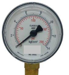 Manômetro Reto Cx Aço carbono, internos latão 6'' Escala 0-14 x 200 lbs