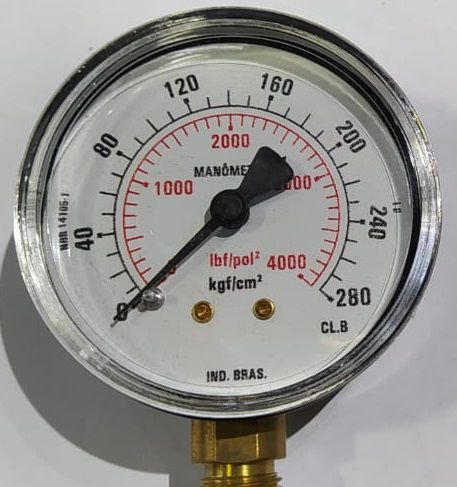 Manômetro Reto Cx Aço carbono, internos latão 6'' Escala 0-280 x 4000