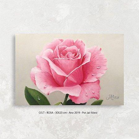 Quadro Flor Rosa - Tinta Óleo Sobre Tela 30x20cm
