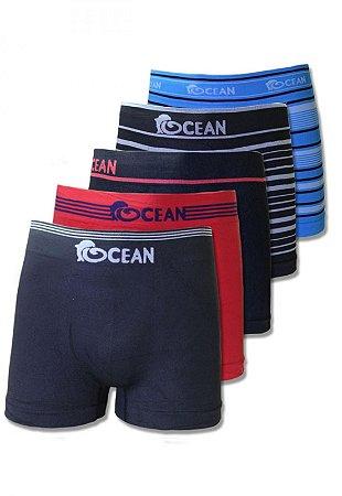 Kit 5 Cuecas Premium Boxer Sem Costura Ocean
