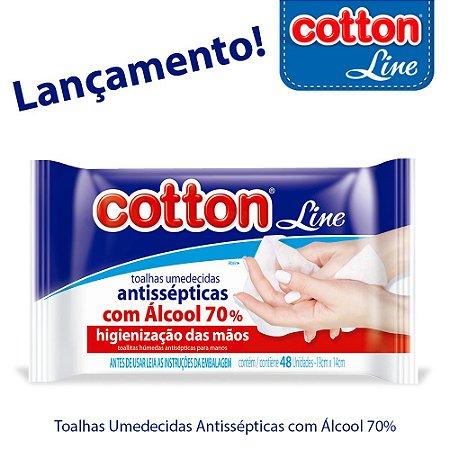Toalhas Umedecidas Antissépticas com Alcool 70% - Cotton Line