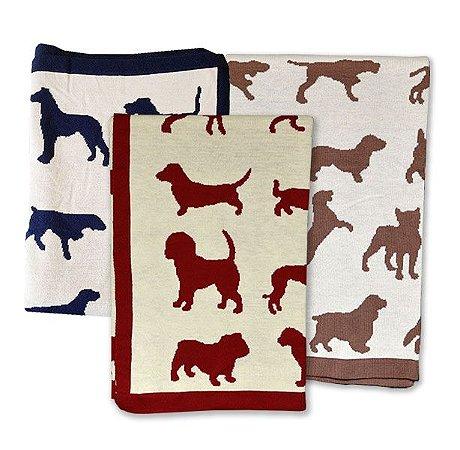 Manta Silhueta de Cachorros - Várias cores e 2 tamanhos