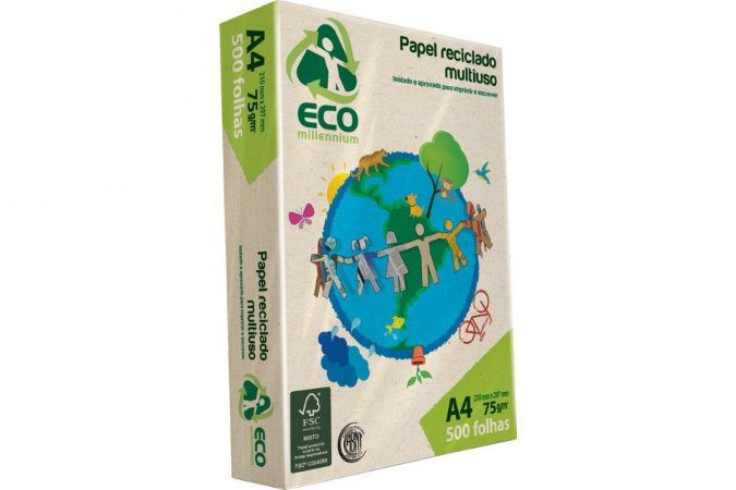 Resma Papel Reciclado A4 75g Jandaia Eco Millennium - Sustentável!