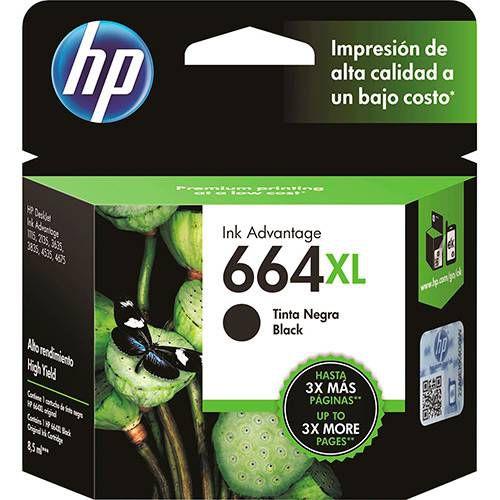 Cartucho HP 664 XL Preto Original (F6V31AB) 22558