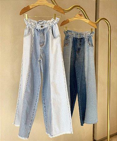 Calça Pantalona Jeans Lavagem Clara