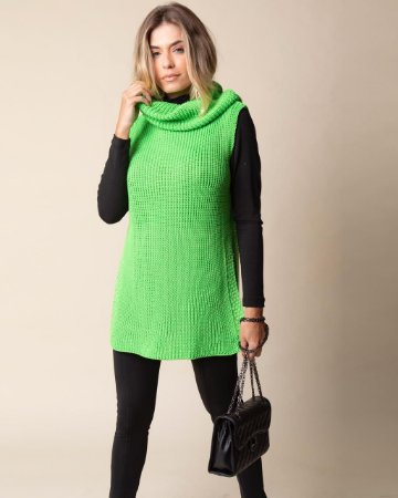 Colete Tricot Verde Neon