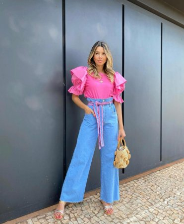 Calça Pantalona Jeans com cinto Crochet Rosa