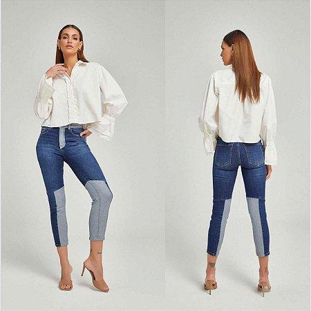 Calça Jeans Skinny Patchwork