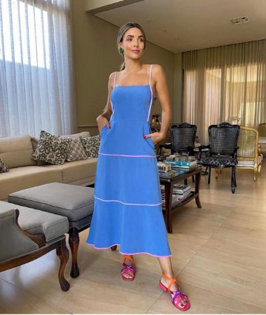 Vestido Azul com Listra