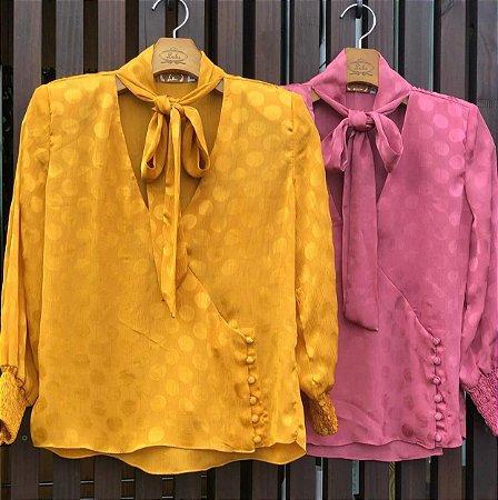 Camisa Gola Laço Rosa