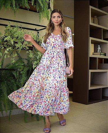 Vestido Longo Multicolorido