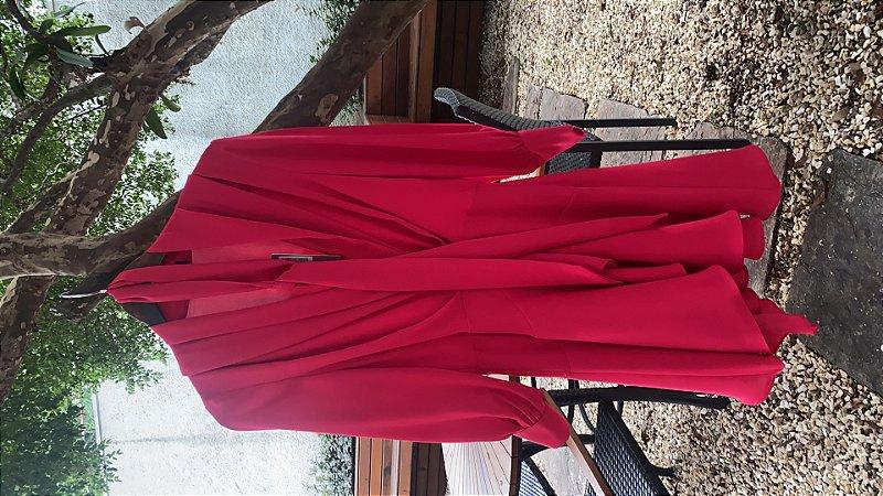 Vestido Crepe Decote Cruzado Pink