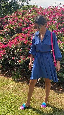 Vestido Safari Azul Marinho