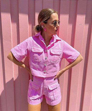 Jaqueta de Sarja Cropped Rosa