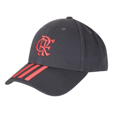 Boné Adidas Flamengo Aba Curva Strapback - Cinza+Vermelho