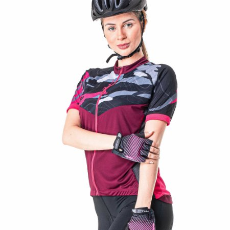 Camisa Ciclista Feminina com Ziper Total Way 04186 Poker-Bike