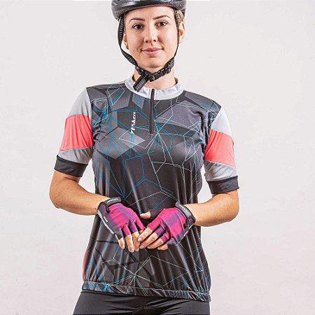 Camisa Ciclista Feminina C/ Zíper Dash 04207 Poker-Bike