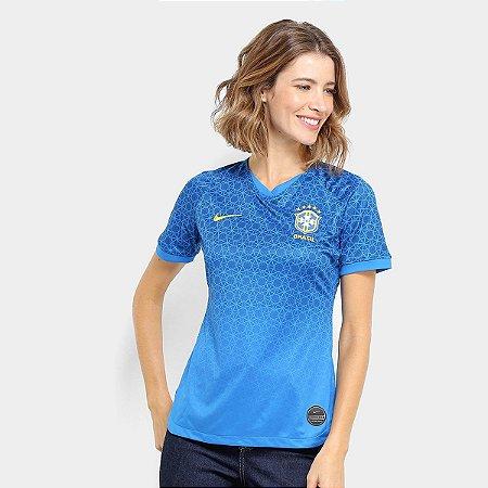 Camisa Seleção Brasil II 20/21 s/nº Torcedor Nike Feminina - Azul+amarelo