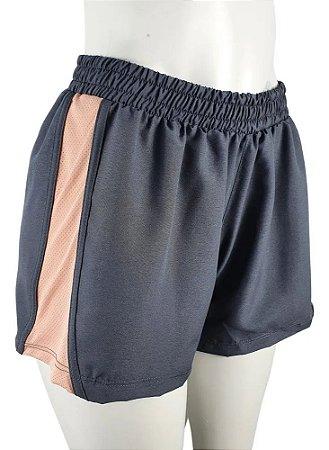Shorts Feminino Selene Sport Fitness Chumbo e Rose