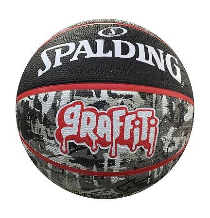 Bola de Basquete Spalding Graffiti Preto e Vermelho