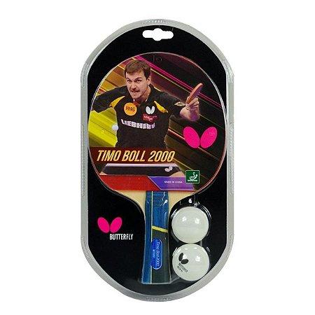 Raquete de Tênis de Mesa Butterfly Timo Boll 2000 + Bolinhas