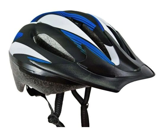 Capacete Bike Poker Out Mold Windstorm Com Led - Preto/Azul/Branco