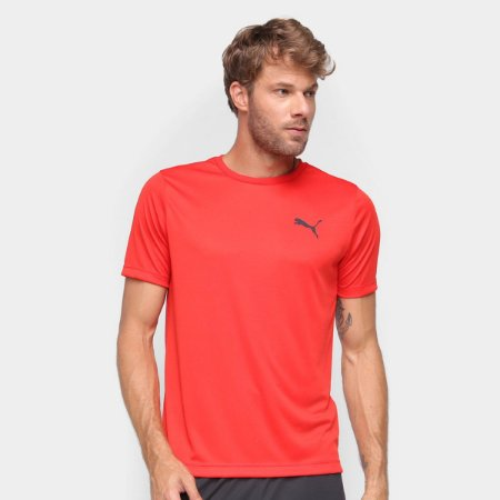Camiseta Puma Active Small Logo Masculino- Vermelho