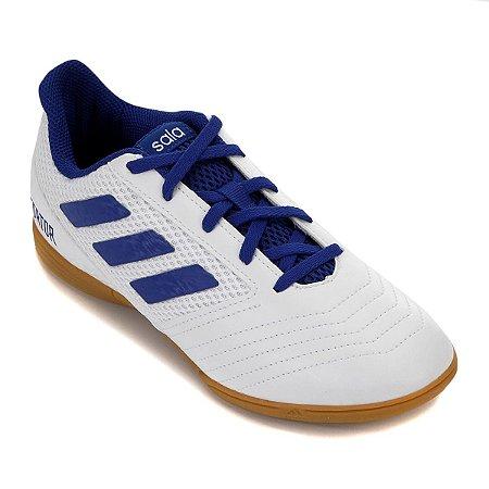 Chuteira Futsal Infantil Adidas Predator 19.4 IN - Branco e Azul CM8553
