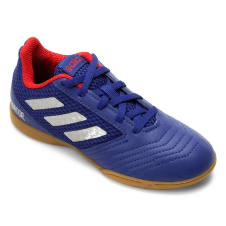 Chuteira Futsal Infantil Adidas Predator 19.4 IN - Azul e Prata CM8551