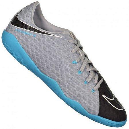 Chuteira Futsal Nike Hypervenom X Phelon III  Cinza/Azul - 852563-004