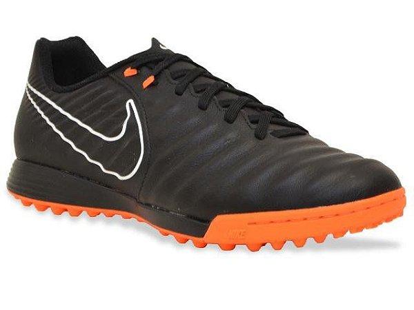 Chuteira Nike Society Tiempo Legendx 7 Academy TF Preto Laranja AH7243-080