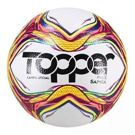 Bola Futebol Campo Topper Samba Velocity Pró X - Branco e Vermelho